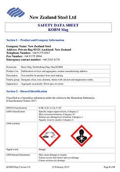 Safety Data Sheet KOBM Slag